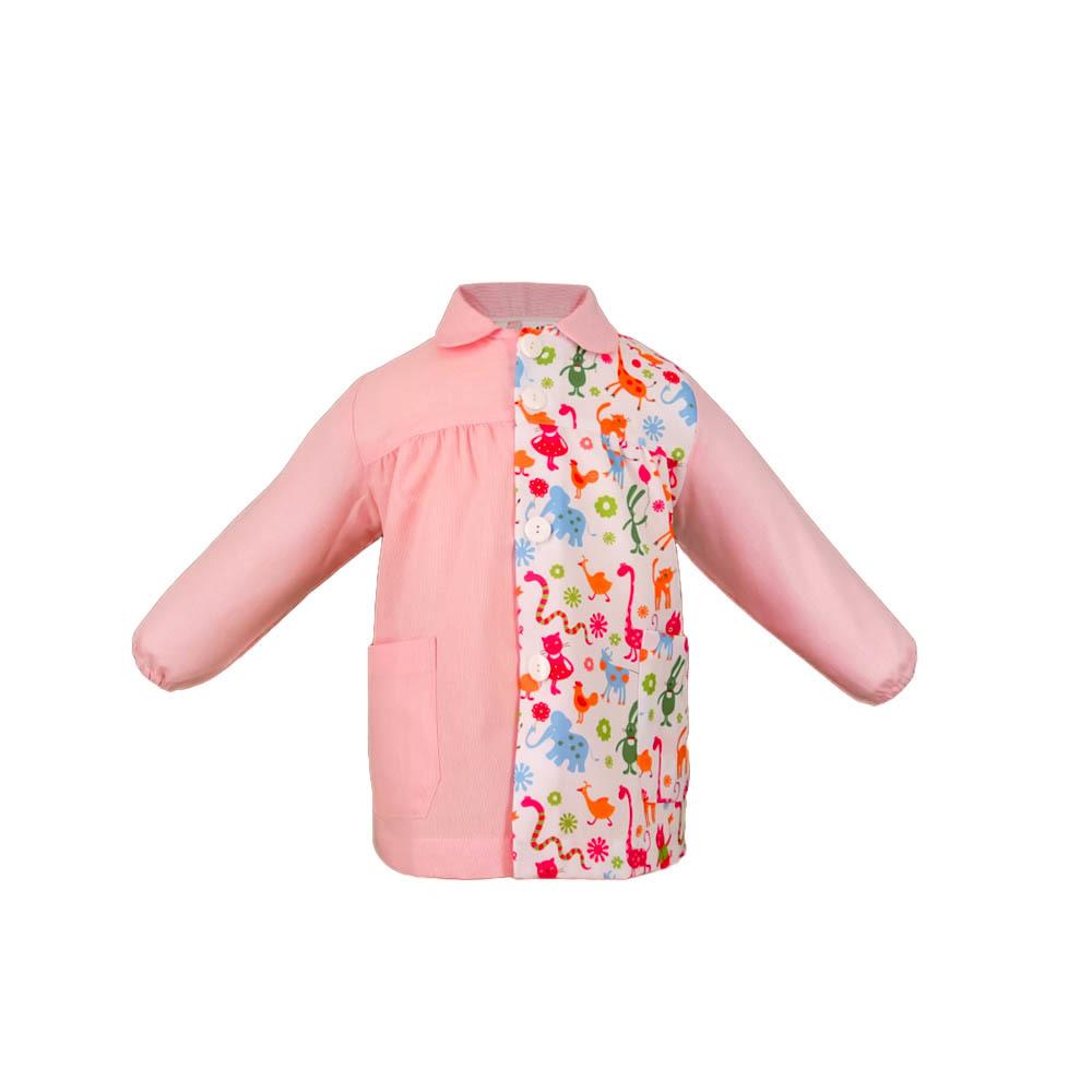 Bata escolar modelo brisa  lista rosa con estampado granja.