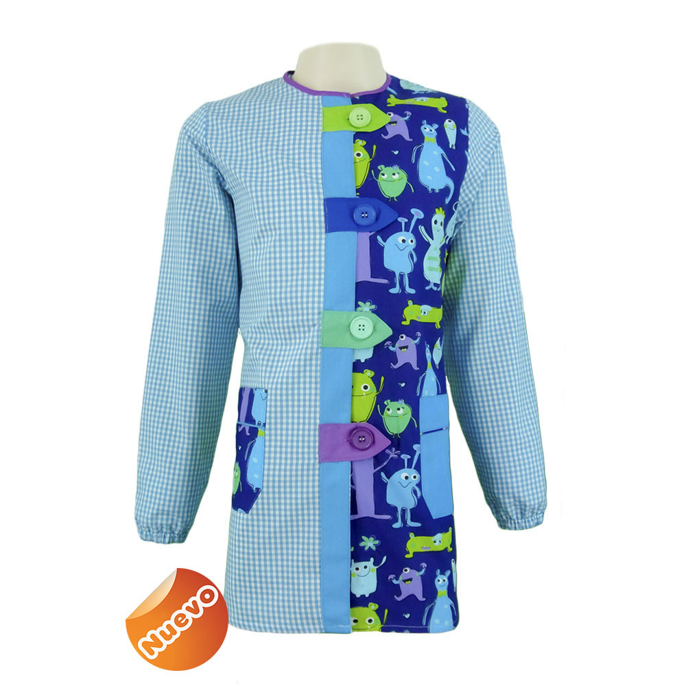 Bata educadora con trabillas con estampado cuadro azul turquesa con fondo