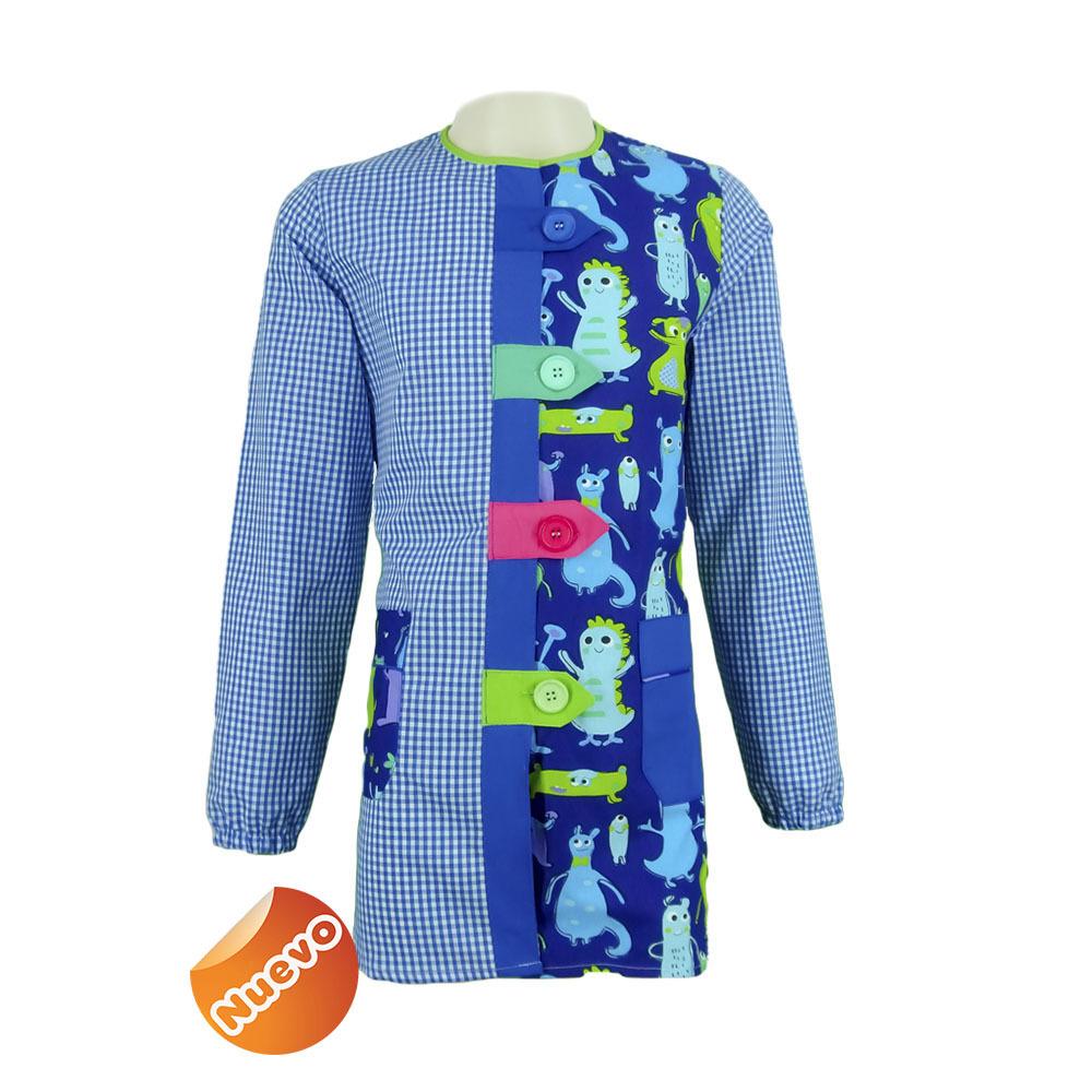 Bata educadora con trabillas con estampado cuadro azulina con fondo