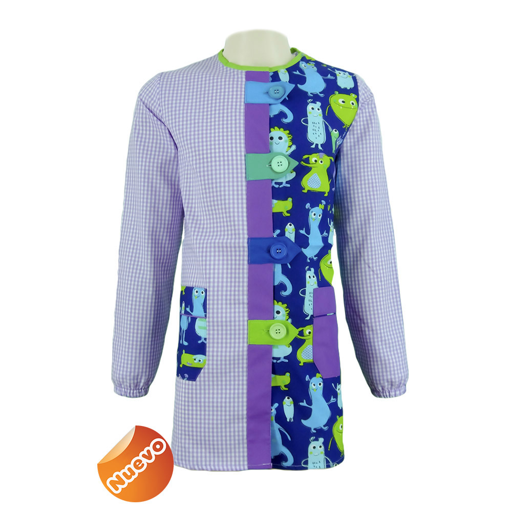 Bata educadora con trabillas con estampado cuadro lila con fondo