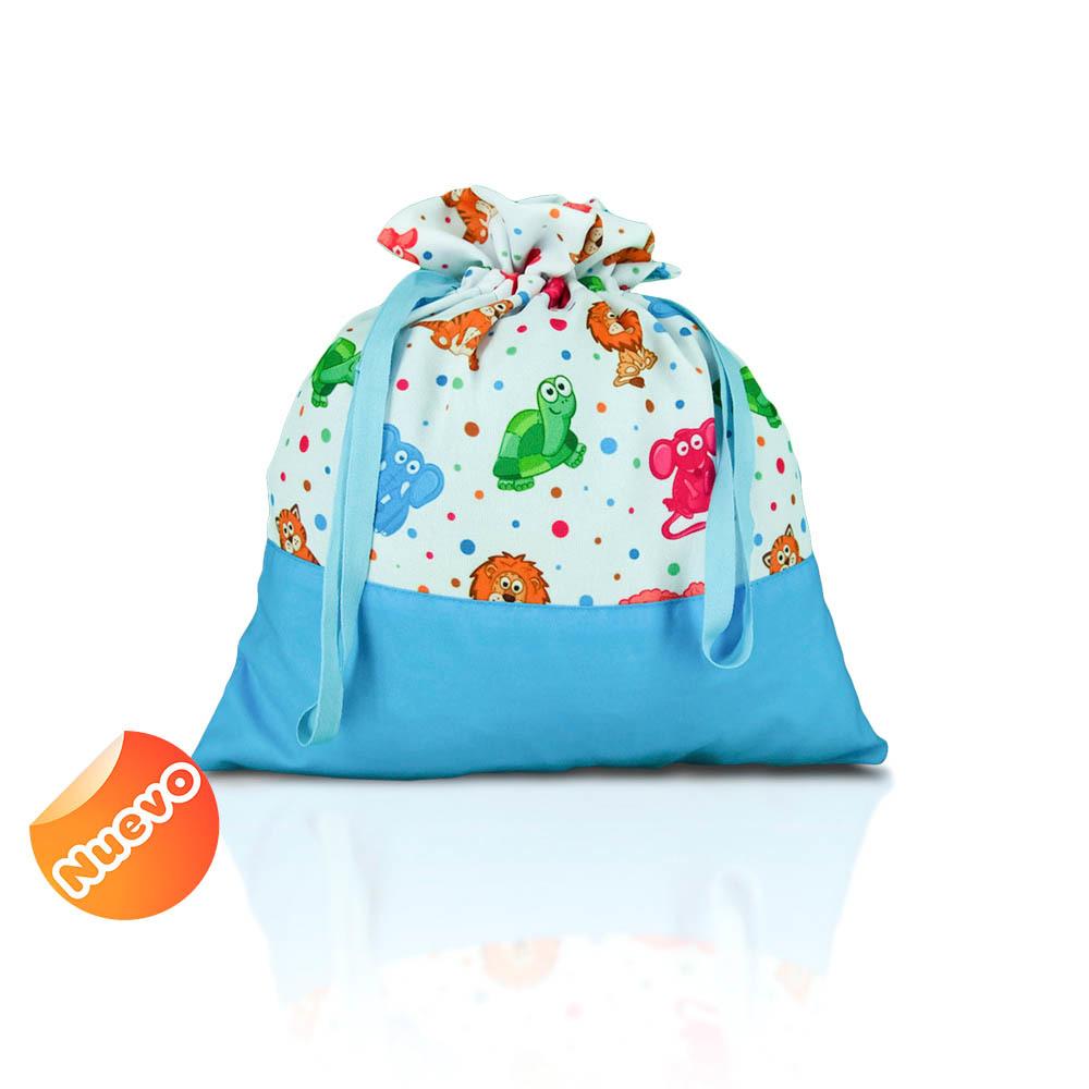 Bolsa de merienda  zoo liso con azul turquesa con fondo. 2