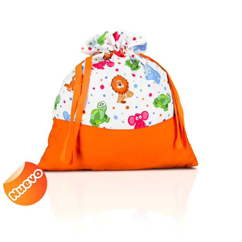 Bolsa de merienda  zoo liso con naranja con fondo. 2
