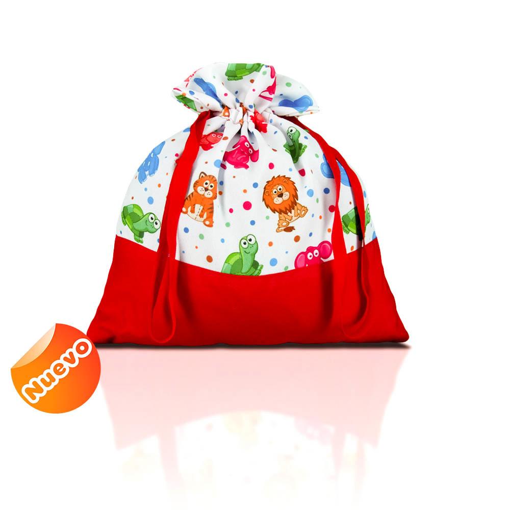 Bolsa de merienda  zoo liso con rojo con fondo. 2