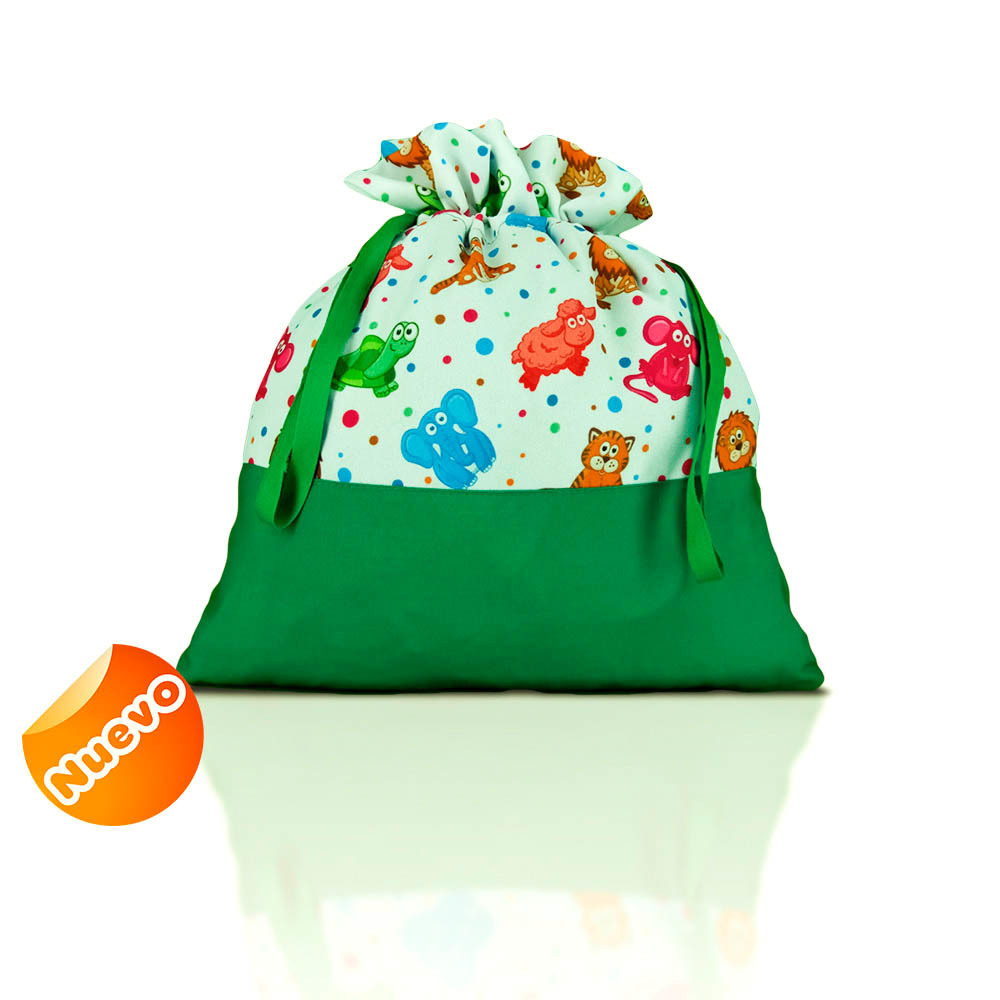 Bolsa de merienda  zoo liso con verde botella con fondo. 2
