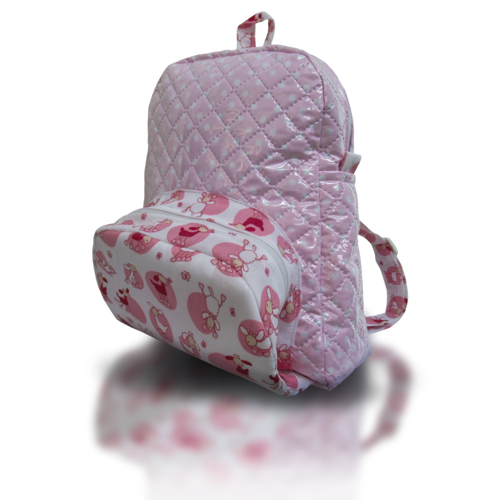 Mochila modelo sheep rosa.lateral.